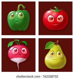Set of cartoon fruits and vegetables. Cute characters with big eyes on a brown checkered background : pepper, tomato, radish, pear.