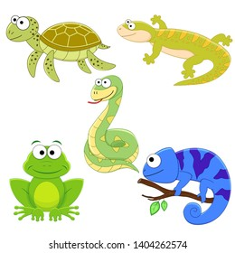 Set of cartoon funny reptile. Sea turtle, lizard, chameleon, snake, frog.  Reptile collection.
