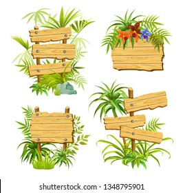 Set cartoon game panels in jungle style with space for text. Isolated wooden gui elements with tropical plants, flowers and boards. Illustration on white background.