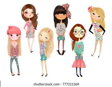 set with cartoon girls
