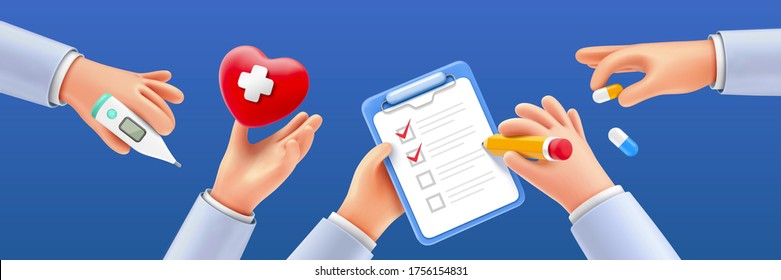 Set of cartoon hands holding various medical items, isolated on navy blue background, 3D illustration