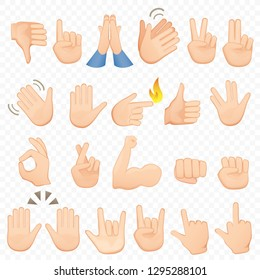 Set of cartoon hands icons and symbols. Emoji hand icons. Different hands, gestures, signals and signs,  illustration collection.