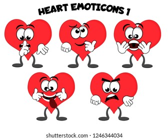 A set of cartoon heart mascot characters – be quiet, thinking, surprised, silly, mad.