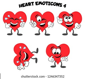 A set of cartoon heart mascot characters – laughing out loud while crying, winking and giving the ok sign, smiling and pointing, rolling on floor laughing, holding hand out.