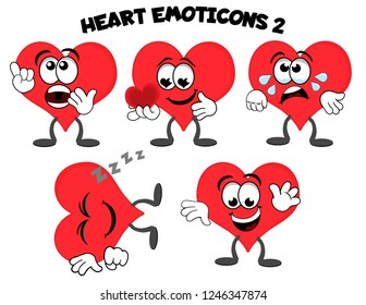A set of cartoon heart mascot characters – surprised, in love, sad, sleeping, happy and waving.