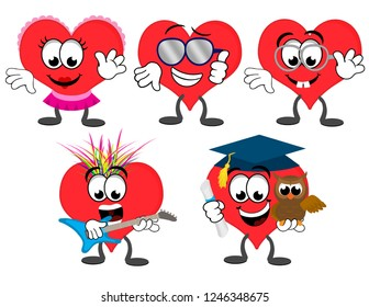 A set of cartoon heart mascot characters – girl, cool dude, nerd, punk rock musician, education heart with an owl wearing a graduation hat