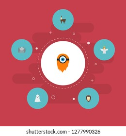 Set of cartoon icons flat style symbols with cyclop, ghost, chimera and other icons for your web mobile app logo design.