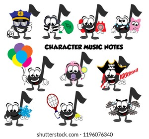 A set of cartoon music note characters – policeman, thief, talking on the phone, sad about it's piggy bank, holding balloons, a baby, a pirate, holding a snowflake, playing tennis, and lifting weights