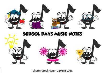 A set of cartoon music note characters that you would see at school – graduate, teacher, reading a book, standing next to an owl, a nerd, a thinker, cheerleader, and one holding a trophy 1st place