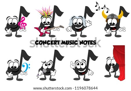 A set of cartoon music note characters that you would find at a concert or recital. A punk rocker, a classical composer Bach, a viking opera singer, microphone, singing, one telling people to be quiet