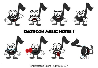 A set of cartoon music notes showing different emotions – happy and waving, surprised or afraid, angry, thinking, crying, in love, being silly or crazy, and laughing on the floor.