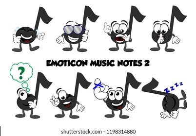 "A set of cartoon music notes showing emotions – laughing while crying, a cool dude with thumbs up, a yelling note, a quiet note, thinking, winking and saying ""OK"", reminder note with string on it's fi"