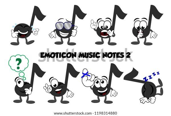Set Cartoon Music Notes Showing Emotions Stock Illustration