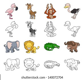 A set of cartoon safari animal illustrations. Color and black an white outline versions.