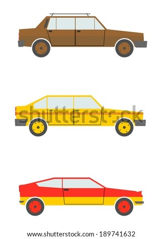 Set Of Cartoon Silhouettes Cars From The 80s Isolated On A White Background Raster