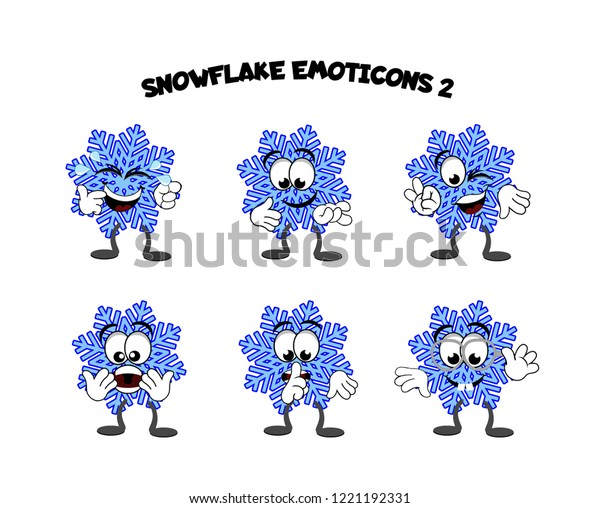 A set of cartoon snowflake characters – smiling, laughing, sleeping, cool dude, education, punk rocker, and thinking.