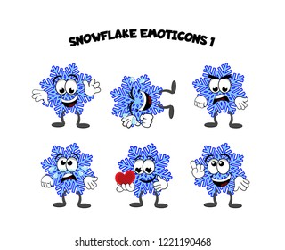 A set of cartoon snowflake characters – waving, laughing, angry, sad, in love, pointing, smiling.