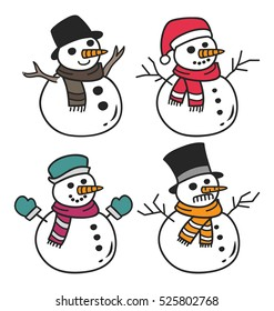 Set of cartoon snowman isolated on white background