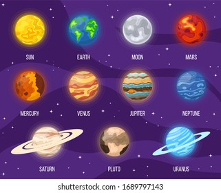 Set of cartoon solar system planets in space. Colorful universe with sun, moon, earth, stars and system planets. illustration for any design.
