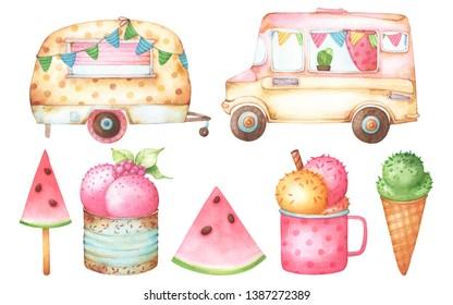 Set of cartoon style watercolor illustrations including cute polka dot rusty caravan, ice cream van, ice cream and watermelon