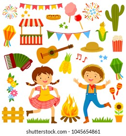 Set of cartoons for Festa Junina with dancing kids and related items.