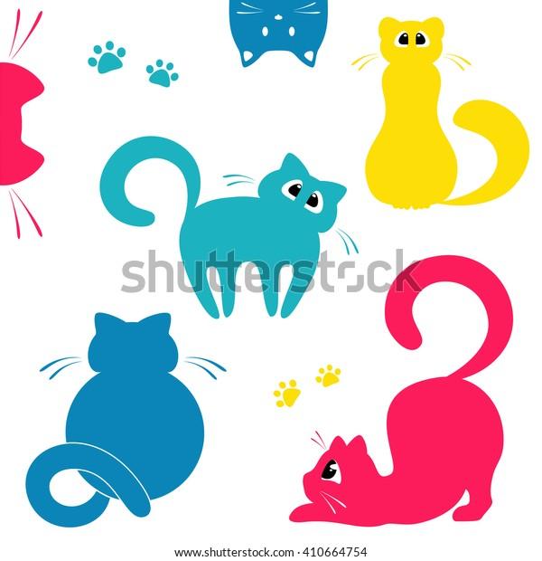 Set of cats. Cat logo concept. Design for pet shop, pet care, cat food.