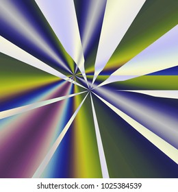 Set of centric rays of colorful light with sharp edges in front and smooth gradients at back