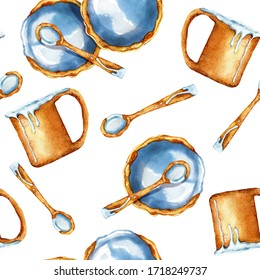 A set of ceramic dishes made by hands. Seamless pattern. Mug, cup, plate, clay spoon. Watercolor illustration isolated on white background. The concept of natural products and hobby materials.