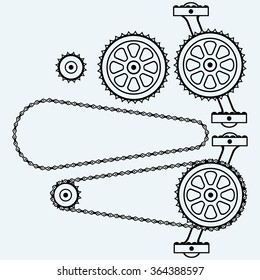 Set chain gears. Isolated on blue background. Raster version