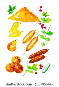 Set of cheburek,bell peppers,baked pears,pomegranate seeds,Basil,kebab,rice balls and cucumber slices. Watercolor illustrations isolated on white background