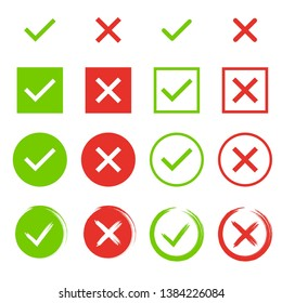 Set of chek marks. Green tick and red cross. YES or NO accept and decline symbol. Buttons for vote, election choice. Empty, square frame, circle and brush. Check mark OK and X icons.