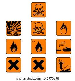 Set of chemical hazard symbols isolated on white. Warning icon