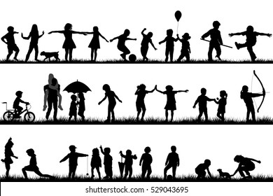 Set of children silhouettes playing outdoor