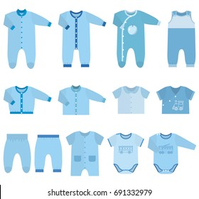 Set children's clothes for baby boys in flat style. Collection of isolated clothing on white background.