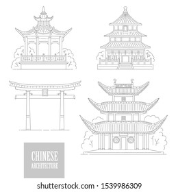 set Chinese architectural landmarks. Oriental architecture black white line art gate pagoda and gazebo different traditional national buildings of China. Raster copy