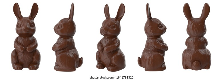 Set with chocolate Easter bunnies on white background. Chocolate bunnies are different view. 3D illustration