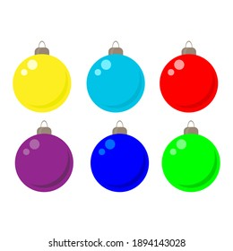 set of Christmas balls on the tree, drawing on a white background