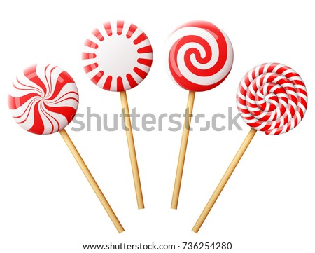 set of christmas candy on wooden stick striped peppermint lollipops isolated on white best - Best Christmas Candy