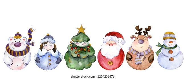 Set of Christmas characters (Santa, Snow Maiden, snowman, reindeer, polar bear, Christmas tree) isolated on white background. Watercolor painting. Hand painted. Can be used as pattern or greeting card