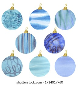 Set of Christmas colorful balls. For New Year and Christmas. Watercolor hand drawn illustration