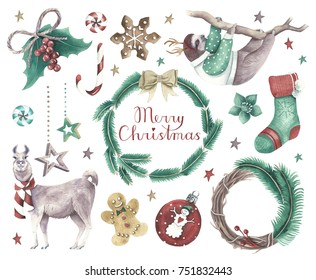 Set of Christmas decorations and cute cute animals wearing winter clothes. Isolated watercolor illustrations on white background.