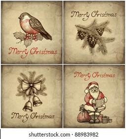 Set of christmas greeting card