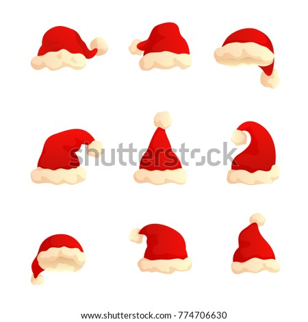 75dcd09c4 Set Christmas Hats Red Holiday Caps Stock Illustration 774706630 ...