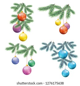 Set Christmas Holiday Decorations, Fir Branches and Colorful Glass Balls with Floral Patterns and Snowflakes.