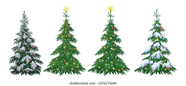 Set Christmas Holiday Fir Trees with Decorations, Stars and Snow Isolated on White Background.