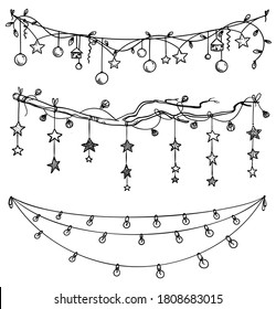 Set of christmas and New Year decorations. Garlands and lights l