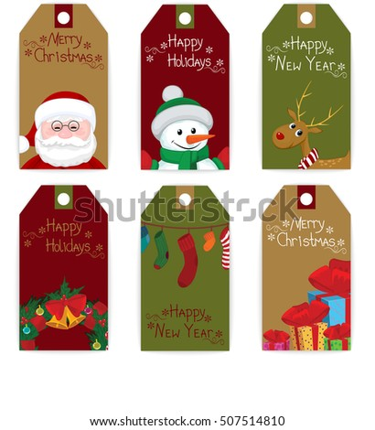 set of christmas new year labels tag card deer snowman santa elf