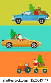 Set of Christmas present web banners. Santa driving cars and tractor loaded with Christmas tree, sack of gifts and reindeer flat raster illustration. Horizontal concept for holiday sale promotions