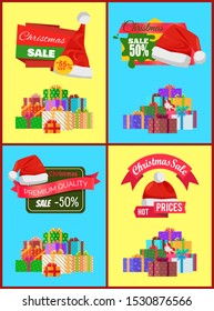 Set of Christmas sale promo stickers with hats, advertisement text on ribbon and piles of packed presents wrapped in colored paper bows raster