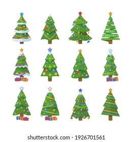 Set of Christmas trees. New Years and xmas traditional symbol tree with garlands, light bulb, star. Winter holiday.